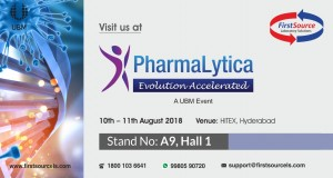 Meet Team FirstSource at PharmaLytica, Hitex Hyderabad, Stand No A9, Hall 1 on 10th-11th Aug 2018