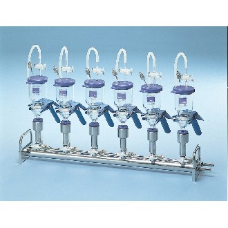 Vacuum Filtration Manifold; Stainless Steel, 3-Branch with 3-Way Valves